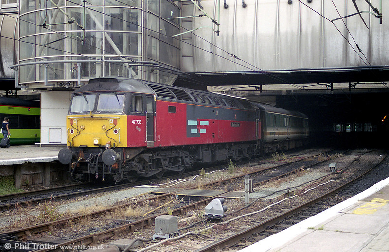 47733 'Eastern Star' at Birmingham New Street in August 2003. 47733 was withdrawn in 2004 and cut up by EMR, Kingsbury on May 13th 2008.