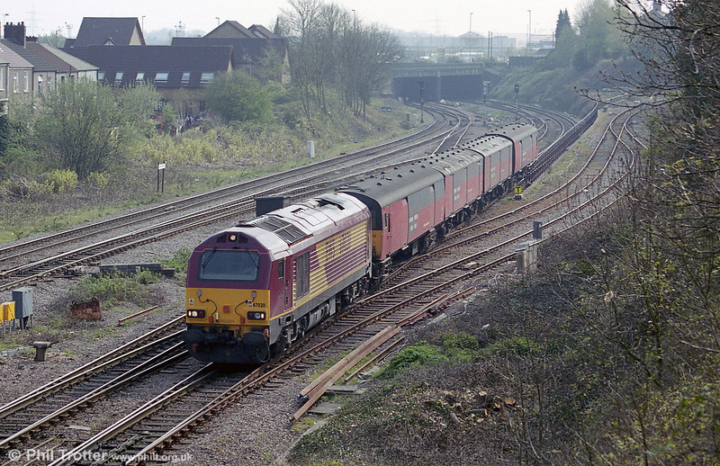 67020 passes Gaer Junction with a postal from Swansea on 8th April 2002.