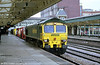 Freightliner 66505 passes through Newport with a Southampton to Wentloog container train in 2001.