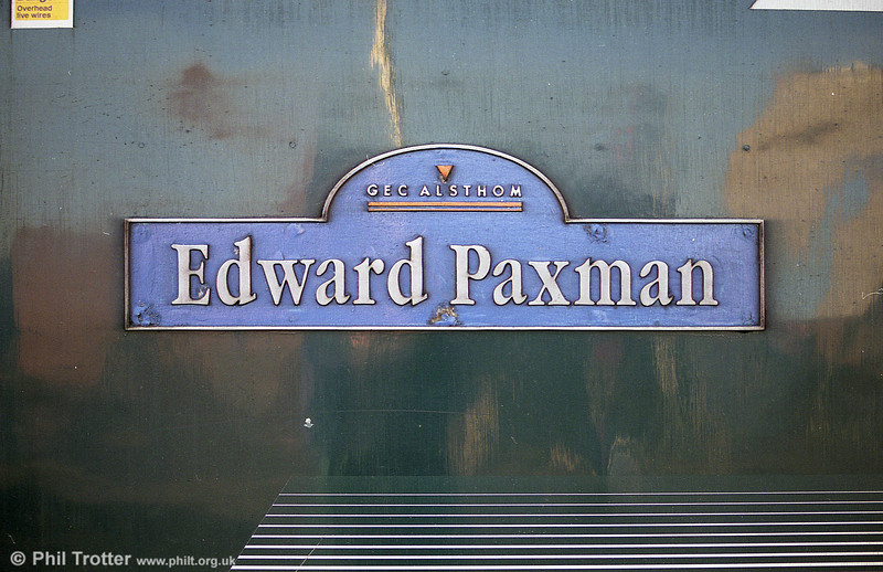 The nameplate of FGW's 43170, 'Edward Paxman'. 8th February 2001.