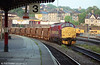 37427 heads a ballast train from Machen through Newport.