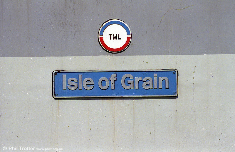 Nameplate of 56051 'Isle of Grain' seen at Newport in May 1995.