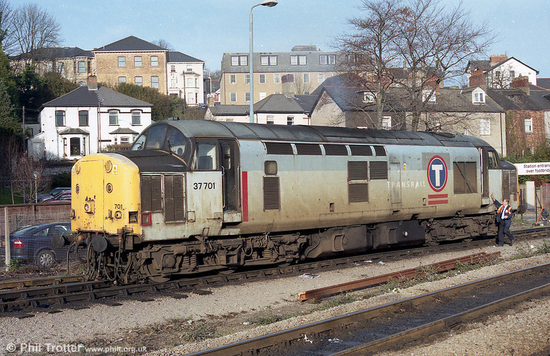 Scruffy looking 37701 at Newport, Godfrey Road in 2003.