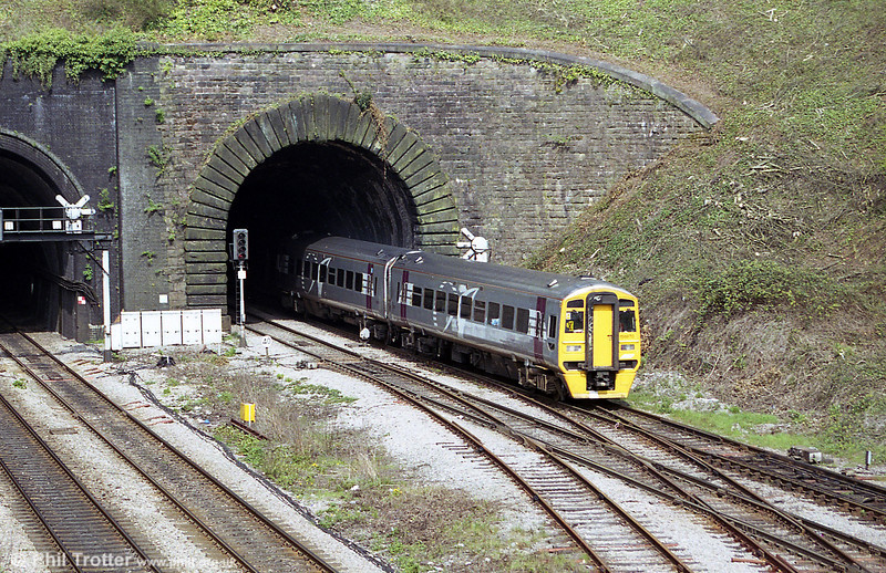 Wessex Trains Alphaline liveried 158870 at Newport Tunnel, Gaer Junction on 9th April 2002.