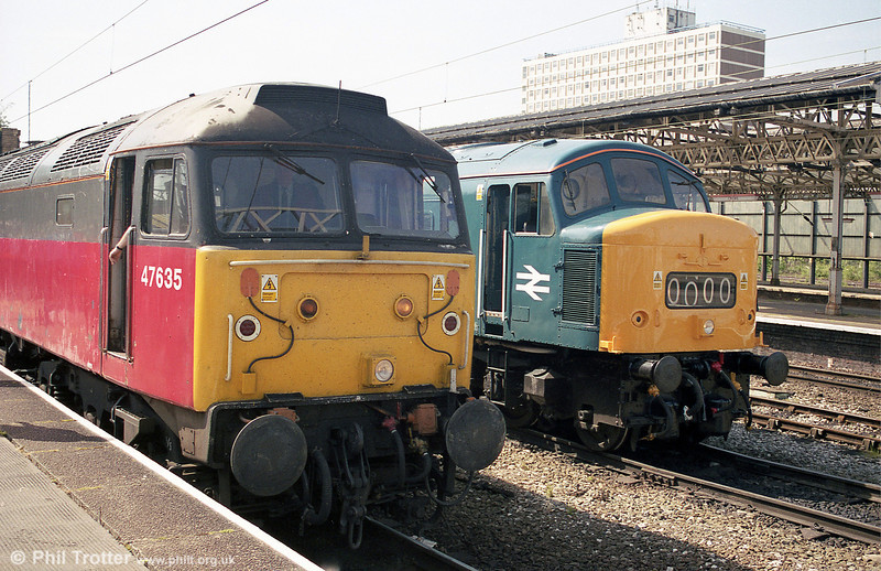 Another view of 47635 and 46035 at Crewe with Pathfinder's 1Z46, Yeovil Junction to Holyhead, 'The North Wales Excursion' on 1st June 2002.