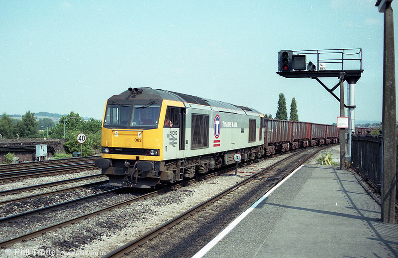 Transrail class 60 no. 60082 'Mam Tor' drifts into Newport Station with a Llanwern to Port Talbot iron ore empties train on 19th August 1995.