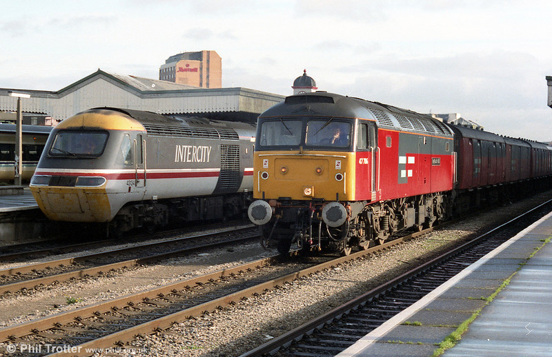47786 'Roy Castle OBE' with a postal alongside 43134 'County of Somerset' at Cardiff Central.