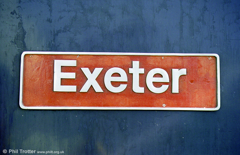 Nameplate of class 50 no. 50044 'Exeter'.