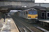 92044 'Couperin' passes through Stafford with an intermodal on 2nd March 2001.
