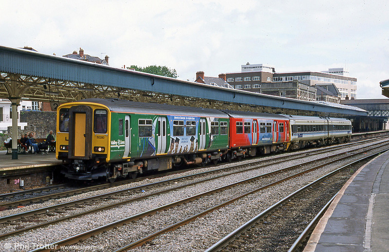 Advertising liveried 150280 at Newport in July 2002.
