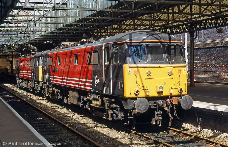 86222 'Clothes Show Live' rests at Crewe in the company of 87010 towards the end of its operational life. 86222 was eventually dismantled at Immingham in 2003.