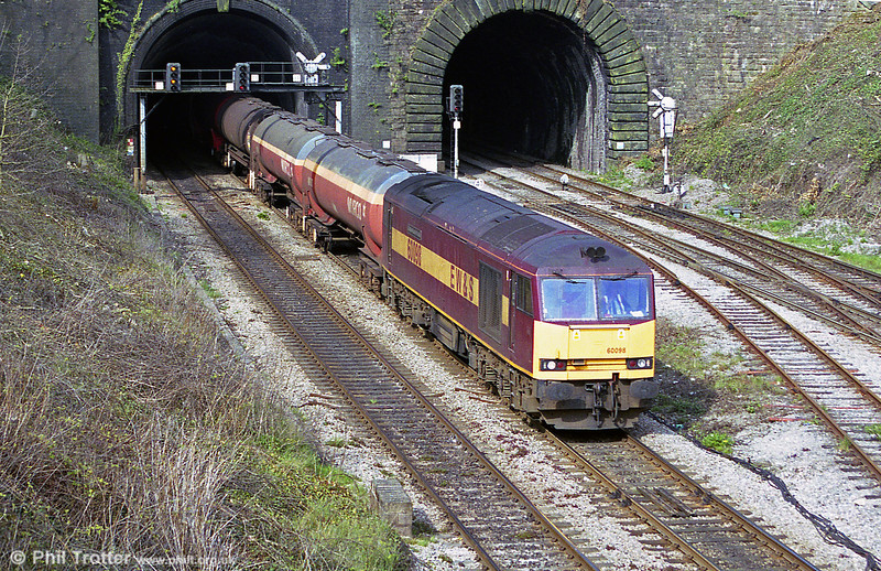 60098 'Charles Francis Brush', named after the founder of its builder, at Newport Tunnel with TEAs for Robeston on 9th April 2002.