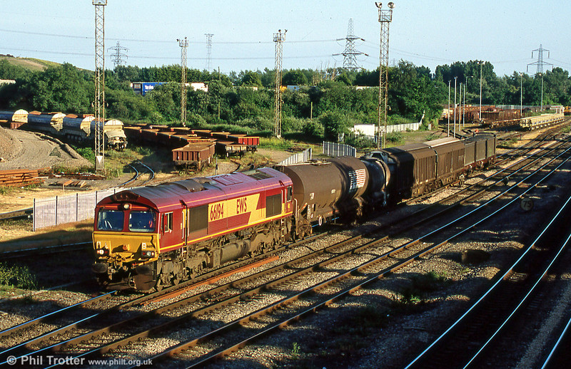 66194 with a steel train at Newport ADJ in June 2005.