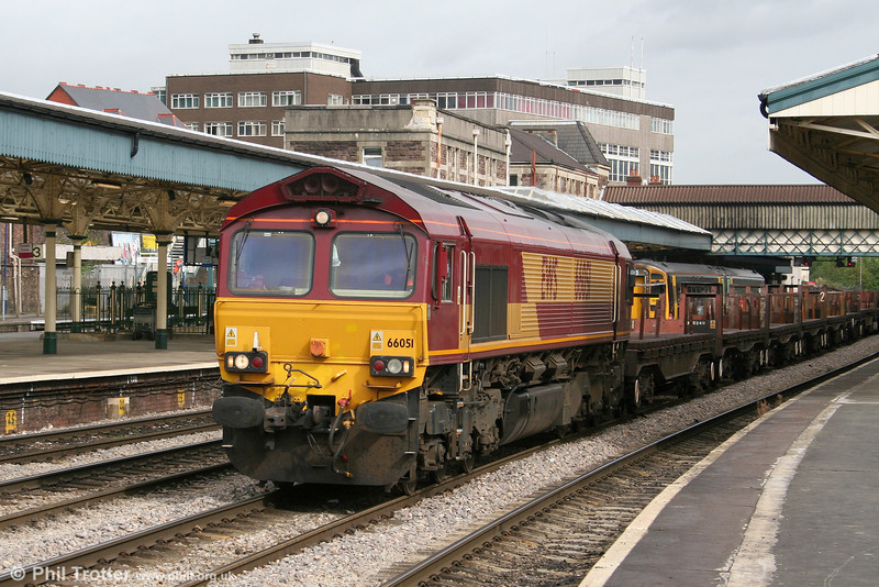 A very clean looking 66051 with empties for Margam at Newport on 26th September 2005.