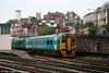 One of the first class 158s to appear in Arriva livery was 158 818, seen here departing Newport with a 'North & West' line service on 18th October 2005.
