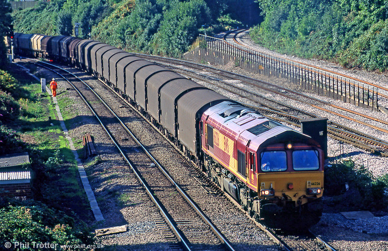 66226 is seen at Newport ADJ with a covered steel train in September 2005.