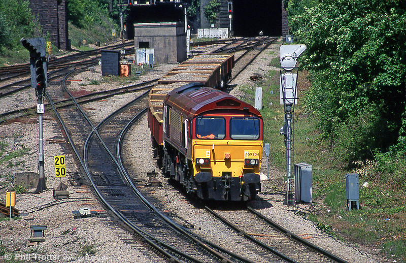59204 'Vale of Glamorgan' approaches Newport ADJ with a ballast train from Westbury in May 2005.