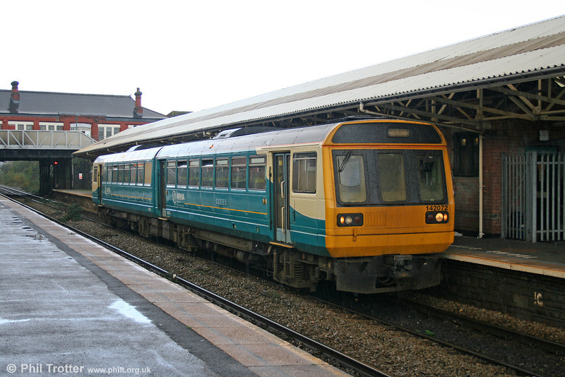 142072 waits to leave Caerphilly on a wet 12th November 2005.