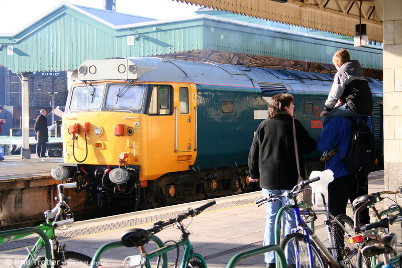 Wonder where 50049 'Defiance' will be when the young lad grows up... (Still working Arriva services to West Wales?!!) Cardiff, 4th December, 2005.