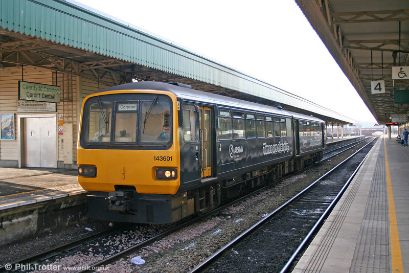 The original 'Pacer', 143601, in its 'Times are changing' livery on a City Line service at Cardiff Central on 24th December 2005.