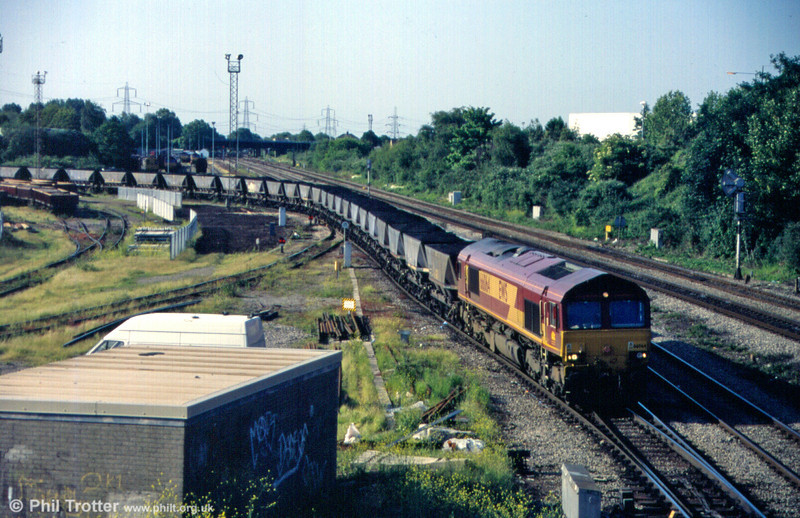 66064 departs from Newport ADJ with a coal train in June 2005.
