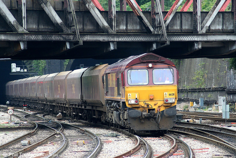 66211 at Newport with a train of HTA bogie coal hoppers on 4th August 2006.