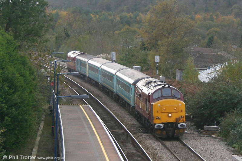 EWS 37406 'The Saltaire Society' at Pencoed with 2Z75, the 1245 Bridgend to Newport rugby relief on 11th November 2006. 37410 is at the rear of the train.