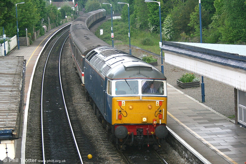FM Rail's Blue Pullman liveried 47 709 'Dionysos' at Abergavenny with 1Z21, the 0817 Liverpool - Cardiff FA Cup Final special on 13th May 2006.