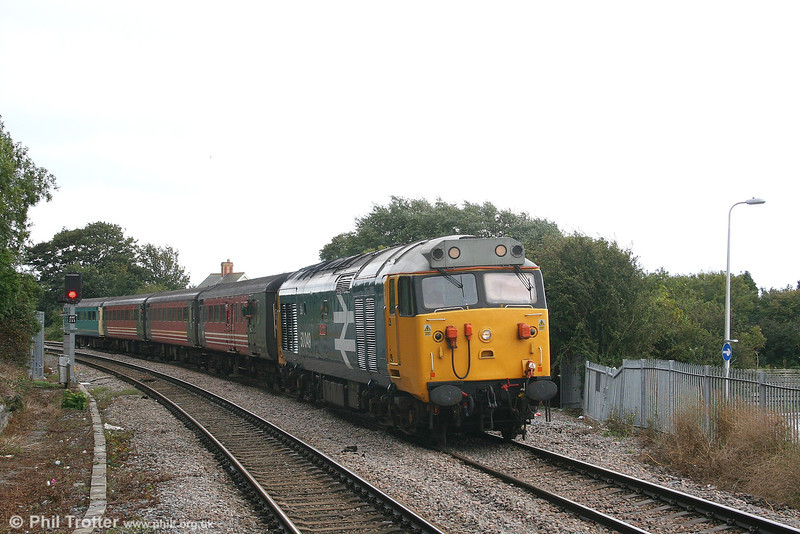 Diverted due to engineering work between Cardiff and Bridgend, 50049 'Defiance' at Llantwit Major with the 1055 Cardiff Central to Fishguard Harbour on 2nd September 2006.