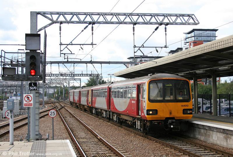 West Yorkshire Metro liveried 144012 arrives at Leeds on 7th September 2006.