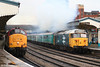 37410 and 50049 leave Newport simultaneously at 1215 with trains 2Z53 and 2N04 for Cardiff on 25th November 2006.