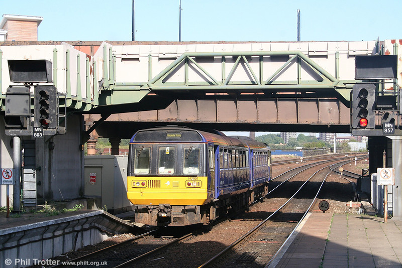 Leyland National buses may be thin on the ground these days, but their railborne cousins can still be found in large numbers. Here, Northern's first production Pacer, 142001 arrives at Manchester Victoria on 9th September 2006.