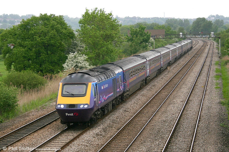 FGW 43004 'First ar gyfer y dyfodol/First for the future' in new livery heads through Duffryn with the 1045 Paddington to Swansea on 20th May 2006.