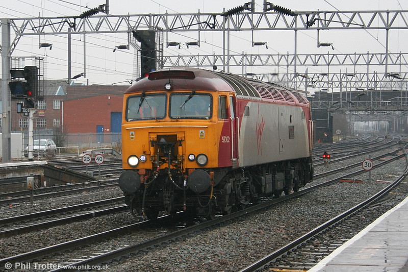 Virgin 'Thunderbird' 57302 'Virgil Tracy' at Stafford on 23rd February 2006. The loco is fitted with a Dellner coupling for use with VWC 'Pendolino' sets.