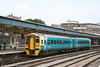 Now in full Arriva Trains Wales livery, including the cream arc on the cabside, 158 823 pauses at Newport with the 1134 Manchester to Carmarthen on 4th August 2006.