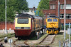 Cotswold's 43157 and 47 316 'Cam Peak' in the stabling sidings at Gloucester on 28th May 2006.