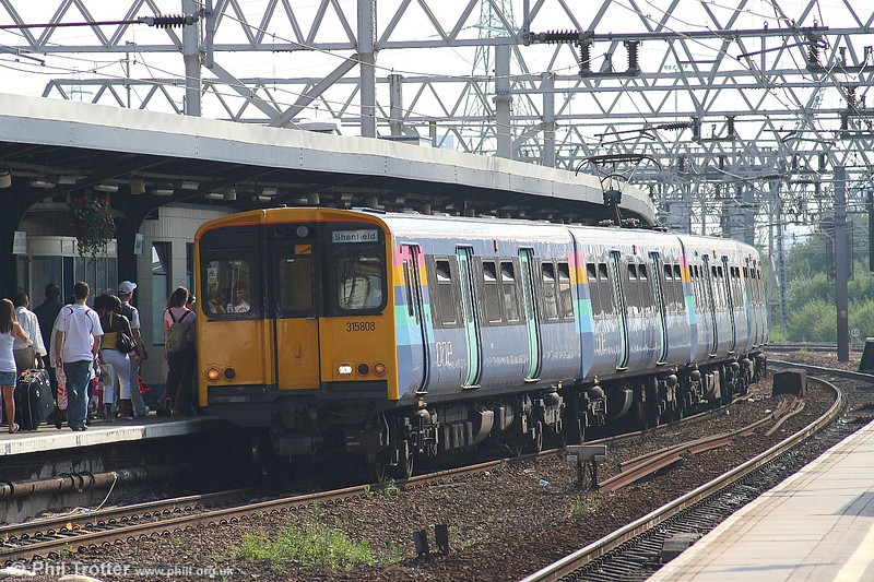 ONE's class 315 suburban units are gradually being repainted into the new corporate livery. This is 315 808 at Stratford with a Liverpool St. - Shenfield working on 1st July 2006.