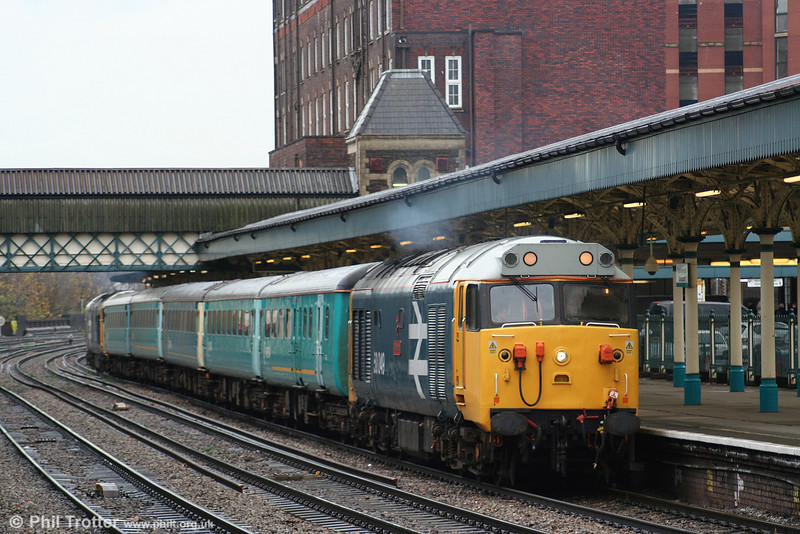 A further view of 50049 'Defiance' as it waits to leave Newport at the head of 2N04, the 1215 shuttle service to Cardiff Central on 25th November 2006.
