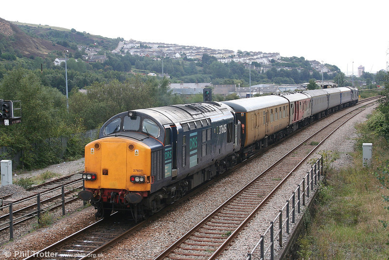 37605 brings up the rear of Serco test train 1Z14 at Swansea Loop East on 13th September 2006.