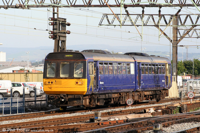 Northern's 142036 arrives at Manchester Piccadilly on 9th September 2006.