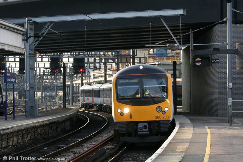 Heathrow Connect 'Desiro' 360203 arrives at London Paddington on 18th October 2006.
