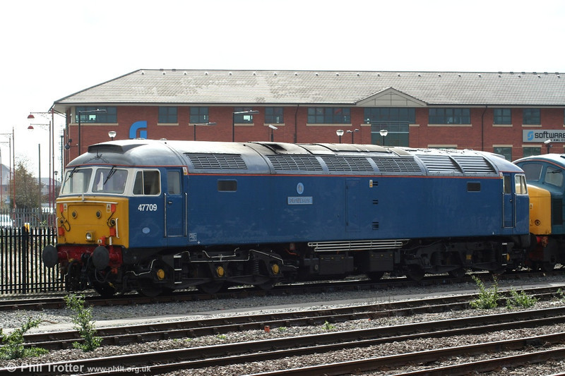 FM Rail's 47709 'Dionysos' has been repainted into 'Blue Pullman' livery for use with the charter train of the same name. The loco is seen at Derby on 30th March 2006.