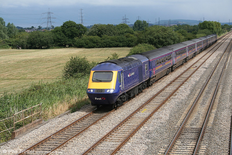 FGW's MTU fitted 43175 at the rear of a return ecs football extra at Coedkernew on 13th August 2006.