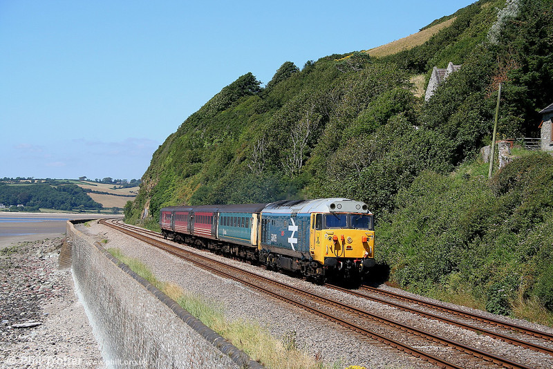 A perfect summer's afternoon... 50031 'Hood' at St. Ishmaels with the 1335 Fishguard Harbour - Cardiff on 24th July 2006.