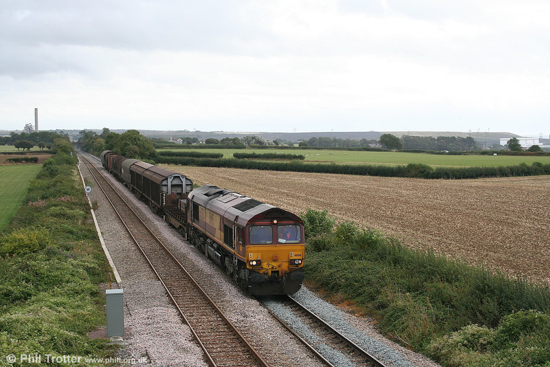 66156 heads west through St. Athan with a train for Margam on 2nd September 2006.
