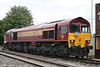 EWS 59203 'Vale of Pickering' displays a headboard commemorating 20 years of class 59s at Westbury on 2nd August 2006.