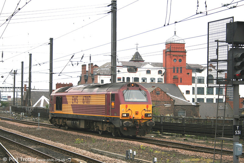 67017 'Arrow' returns light through Newcastle on 4th May 2007. The loco was returning to the headshunt at Newcastle for stabling during a spell as 'thunderbird' loco.