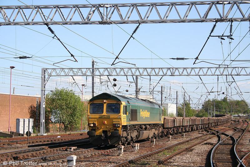 66520 at Carlisle with 6C26, 1300 Shap Summit - Carlisle Yard loaded ballast wagons. 3rd May 2007.