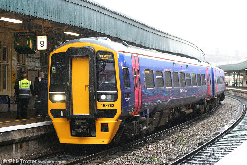Newly refurbished 158762 sits in torrential rain at Bristol Temple Meads forming the 1030 Cardiff to Portsmouth Harbour on 8th December 2007.