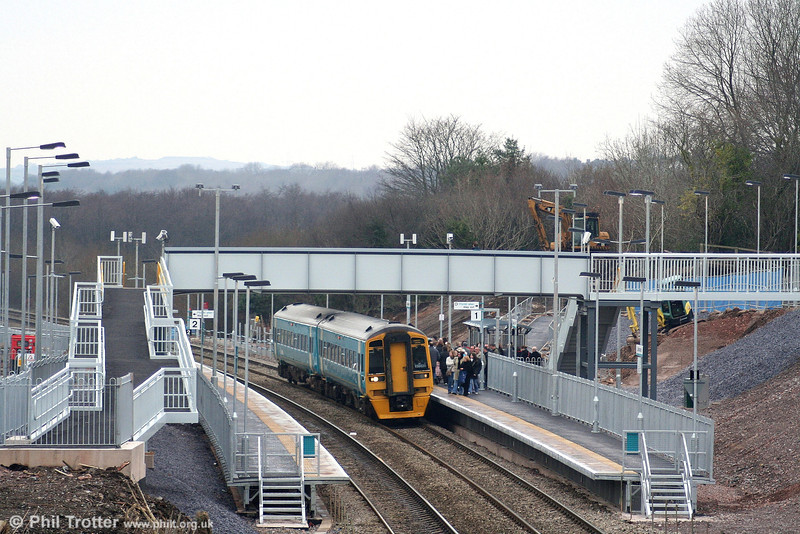 The new station at Llanharan was brought into use on 10th December, although there remains much work to be completed. Already, substantial numbers of passengers are making use of the new facility. A busy scene as ATW 158820 calls forming the 1017 Maesteg to Cardiff Central on 15th December 2007. The original Llanharan Station occupied the same site and closed in November 1964.